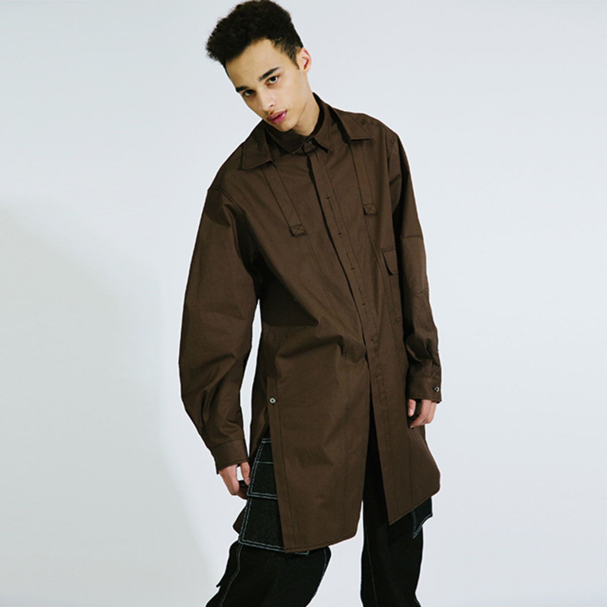 BROWN OVERSIZED LONG SHIRTS